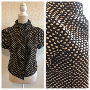 MAGASCHONI Short Sleeve 100% Wool Textured Blazer